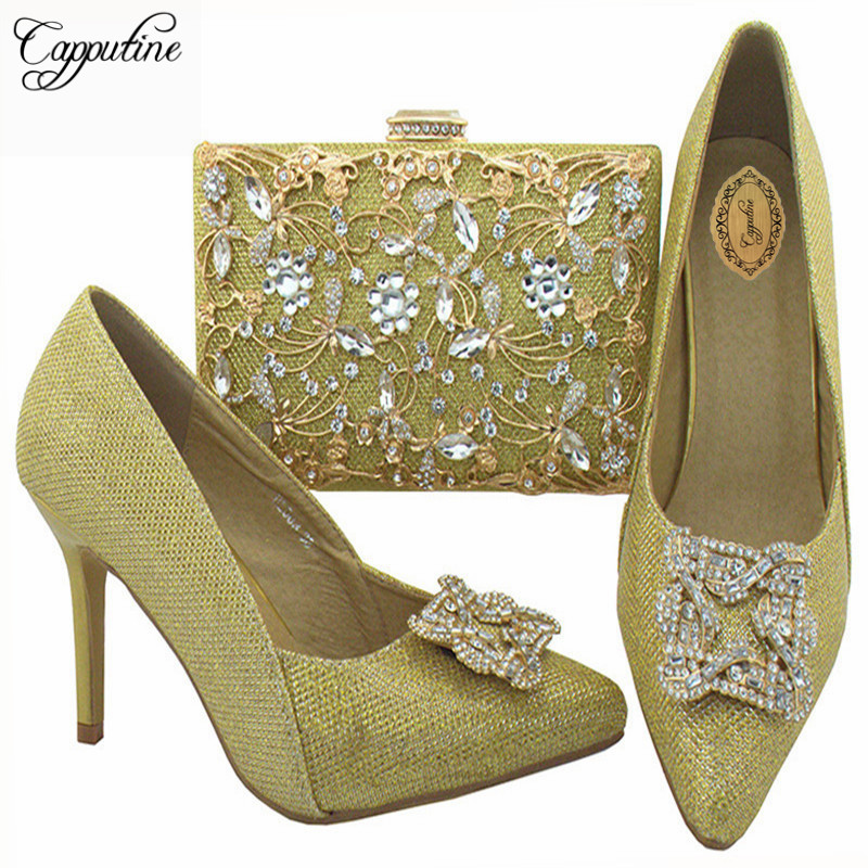 Capputine Gold Color African Shoes And Matching Bags Set Italian Elegant Wedding Shoes And Bag To Match For Parties BL003 capputine 2017 beautiful african style shoes and matching bag set italian rhinestones shoes and bags set for wedding dress g37