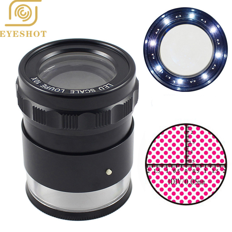 10X Metal LED Illuminated Focus Adjustable Cylindrical Loupe Measuring Magnifier Achromatic Lens with Scale Graticule and Lamps 100x led illuminated focus adjustable zoom pocket microscope handheld magnifier loupe with reading scale 1div 0 02mm and lamp