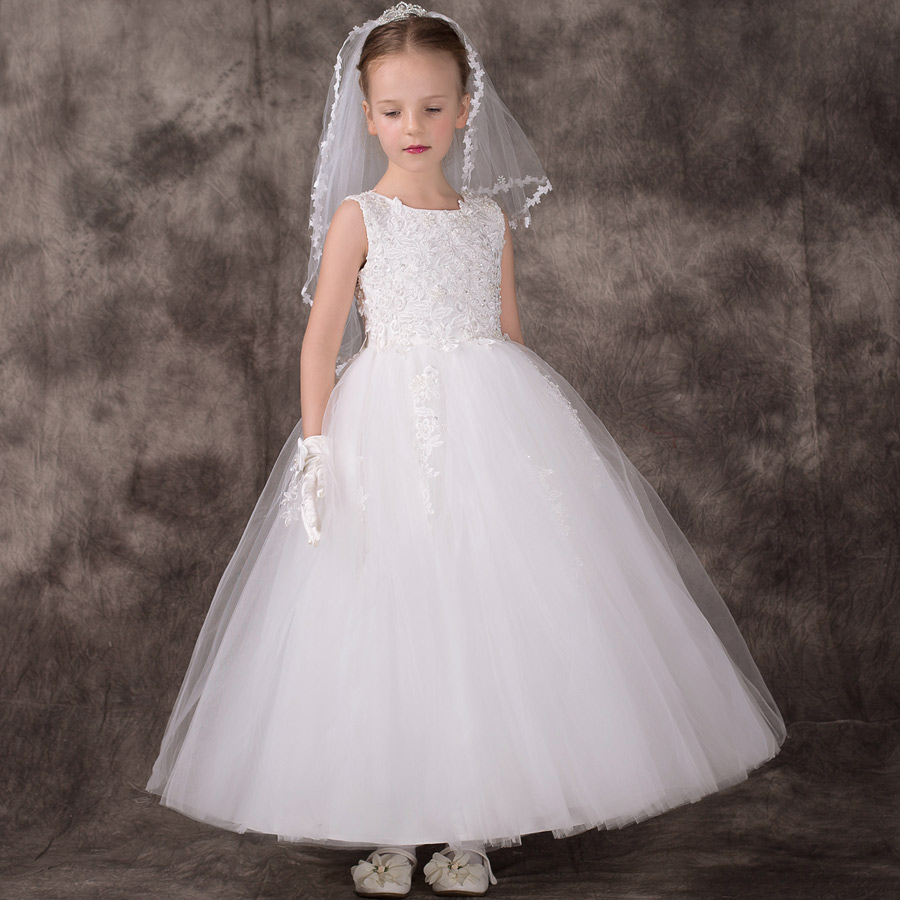 White little   girls     dresses   for weddings sweet   girl   Party frocks   Flower     Girl     Dresses   kids prom   dresses   evening gowns 2018