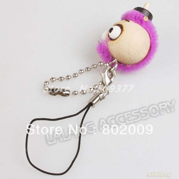 18pcs/lot Mixed Forest Ghost Wooden Doll Cell phone Straps Accessory Key Ring Bag Chain 130218