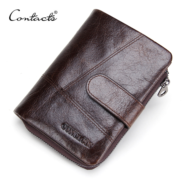 CONTACT'S 2017 New European and American Brand Luxury Mens Wallets Genuine Leather Men Purse Short with Coins Bag Men Wallet
