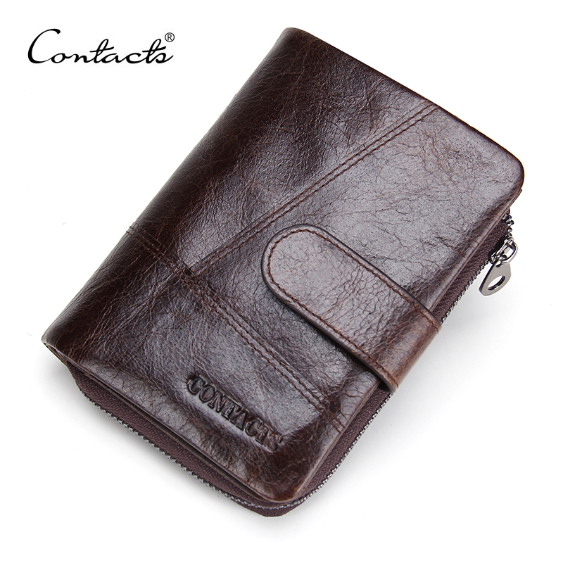 CONTACT'S 2018 New European and American Brand Luxury Mens Wallets Genuine Leather Man Purse Short with Coins Bag Men Wallet