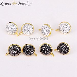 Image 2 - 20 pares ZYZ299 3823 pendientes de forma redonda de 14mm tachuelas, accesorios de pendientes de diamantes de imitación pavimentados, para hacer hallazgos de joyería