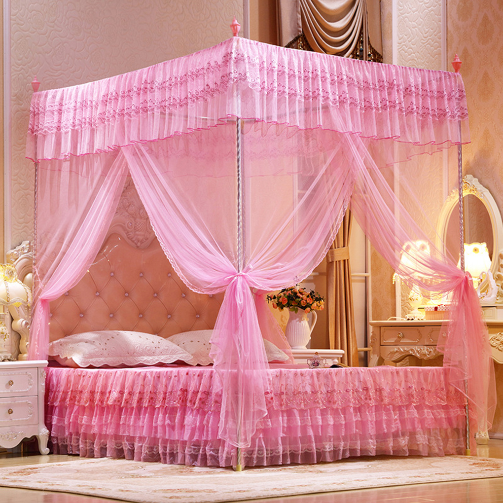 Practical Three-Door Open Princess Mosquito Net Double Bed Curtains Sleeping Curtain Bed Canopy Net Full Queen King