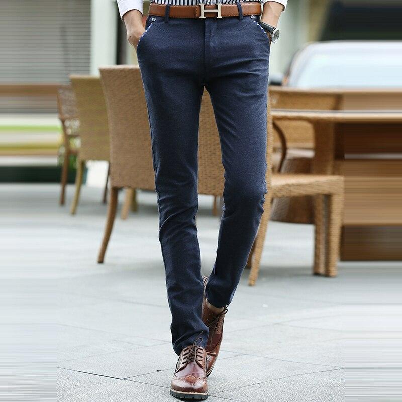 2017 Fashion navy blue Casual Pants Men Spring and Summer Pockets Chino Pants Full Lengt ...