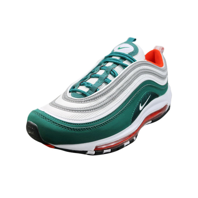 Original Nike Air Max 97 OG Men's Running Shoes, Black & White / Green, Lightweight Non-slip Breathable 921522 102 921522 300