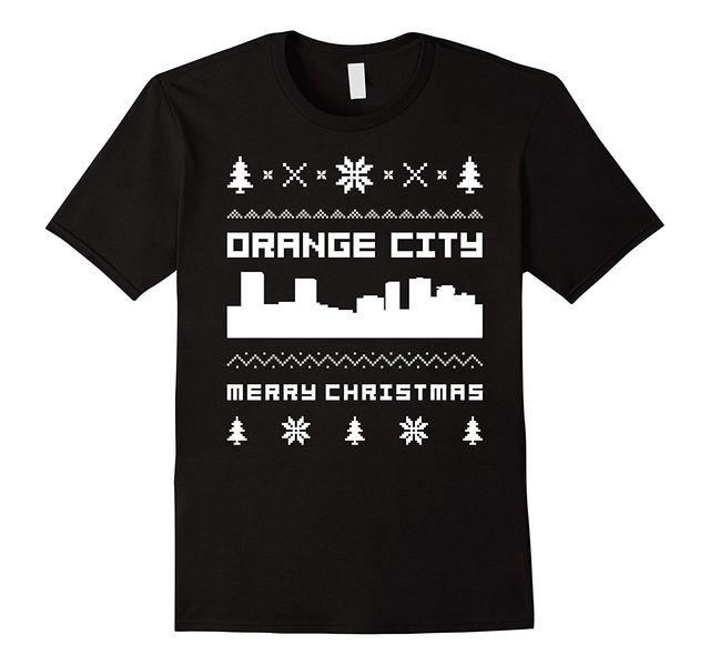 mens orange city ugly christmas sweater t shirt medium black - Black Ugly Christmas Sweater