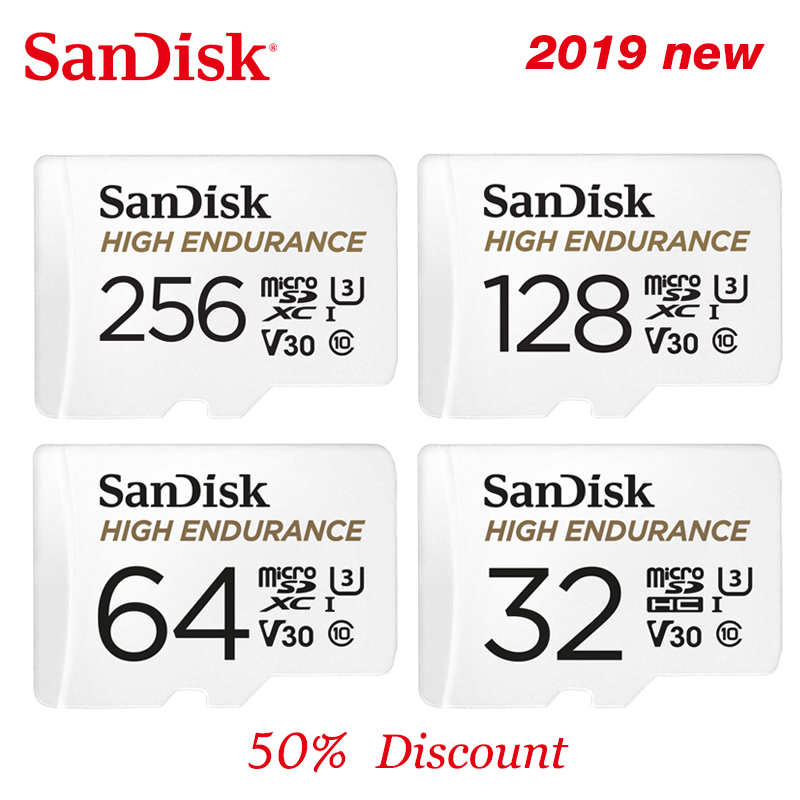 SanDisk HIGH ENDURANCE MicroSD Card 32GB U1 Memory Card Up To 100MB/s 64GB 128GB 256GB Class 10 Video Speed U3  V30 Full HD 4K