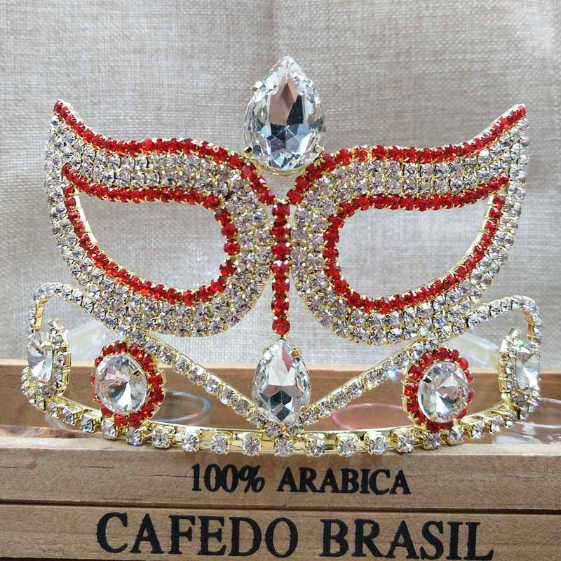 3.5inch high pageant mask carnival/party costume hair Tiara band Crown gold red queen tiara rhinestone crown tiara