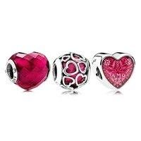 NEW 100% 925 Sterling Silver Lucky In Love Fuchsia Charm Pack Bead Fit European Women Original DIY Bracelets Set Jewelry Gift