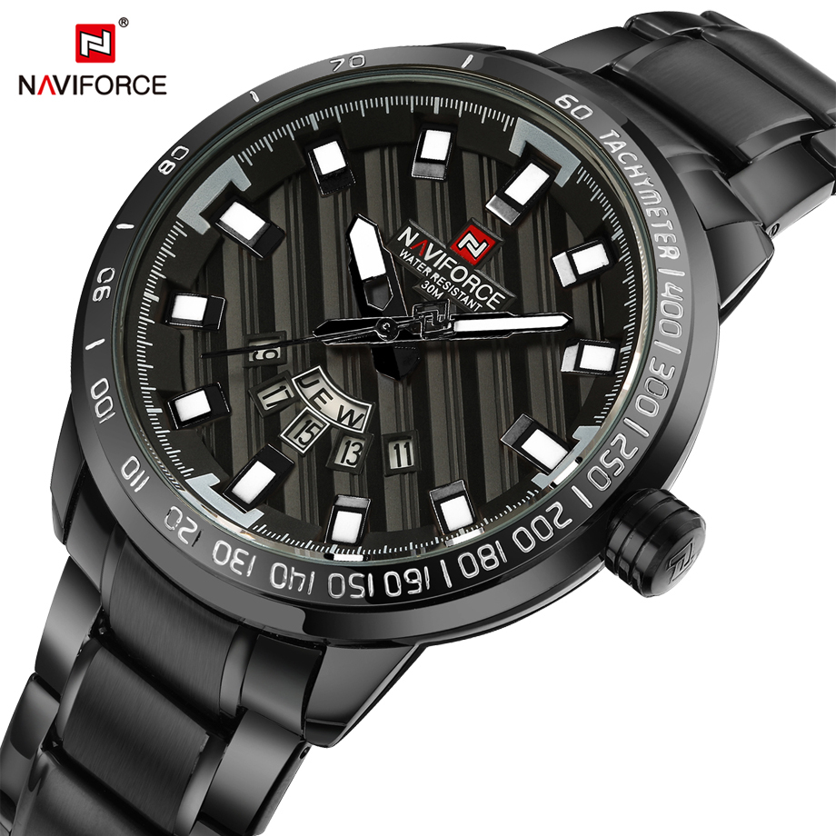 NAVIFORCE Men's Watch Full Steel Quartz Watches Fashion Casual Business Watch Men Date Waterproof Male Clock Relogio Masculino
