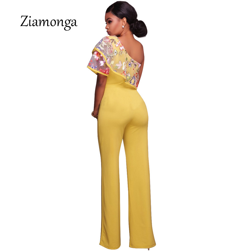 6b9775fd8b1 Ziamonga Women One Shoulder Jumpsuits Floral Embroidery Playsuits One Piece  Rompers 2017 Autumn Sexy Women Outfit Lady Overalls-in Jumpsuits from  Women s ...