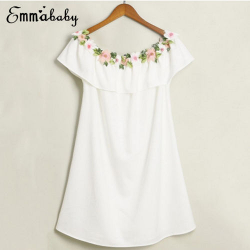 2018 Cute Mother and Daughter Summer Casual Embroidery Floral Strap Off Shoulder Maxi Dress Mommy&Me Family Matching Outfits 3