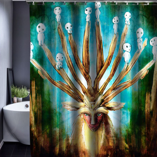 3D Deer Polyester Customized Shower Curtain Bathroom Accessories Waterproof Fabric 150x180cm