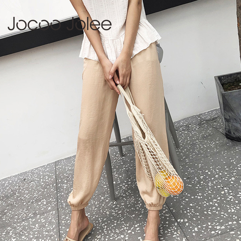 Jocoo Jolee 2019 New Solid Lantern   Pants   Casual Elastic Waist Cotton Linen Loose   Pants   Harajuku Ankle-Length Harem   Pants     Capris