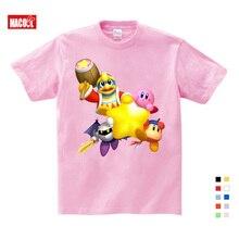 Cute Kirby Girl Star T Shirt  Kids GameT-shirts Allies Characters Children 2019 Summer Tops Boy Cartoon Anime Pink Pattern