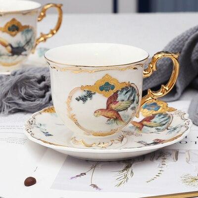 Новое поступление фарфоровая кофейная чашка набор джунглей животных кофейная чашка и блюдце Птица Обезьяна Стиль Золотая кость Китай чайная чашка - Цвет: 03