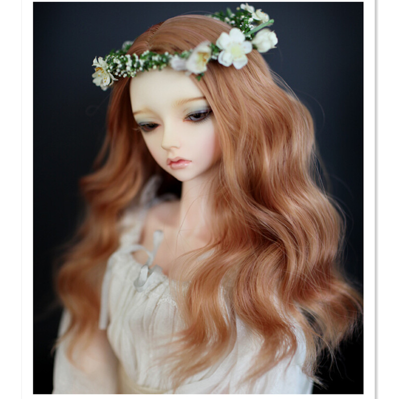 (22-24 cm)1/3 SD BJD Doll Wis High Temperature Wire Long Wavy BJD Super Dollfile Hair,Attractive Design Curly Hair new 1 3 1 4 1 6 bjd wig curly short hair curly fringe doll diy high temperature wire for bjd sd dollfie