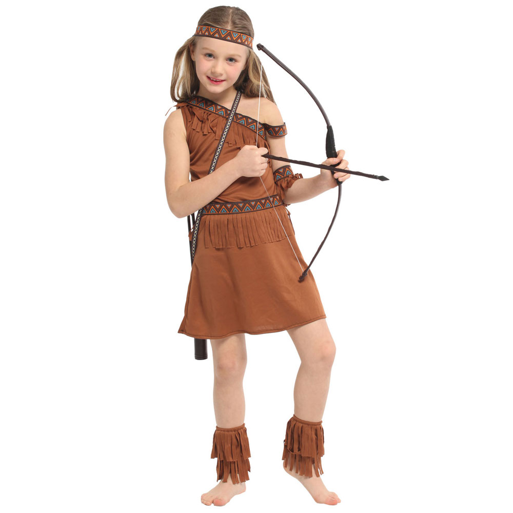 Sweet Indian Princess Girl Costume Native Archer Huntress Cosplay Halloween Purim Carnival Party Mardi Gras Fancy Dress