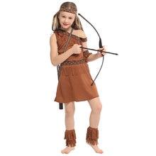 Sweet Indian Princess Girl Costume Native Archer Huntress Cosplay Halloween Purim Carnival Party Mardi Gras Fancy Dress