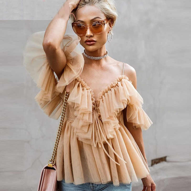 Sexy v neck off shoulder peplum blouse top Women Pleated vintage ruffle mesh blouse shirt Casual summer sleeveless top