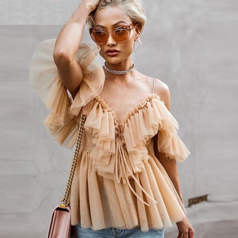 Sexy v neck off shoulder peplum   blouse   top Women Pleated vintage ruffle mesh   blouse     shirt   Casual summer sleeveless top