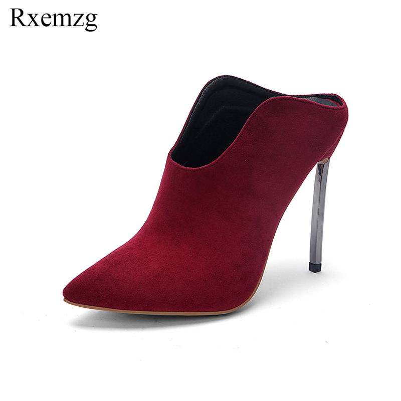 цена на Rxemzg high heel shoes 2019 new fashion metal high heel flock shoes woman pointed toe deep mouth pumps sexy party wedding shoes