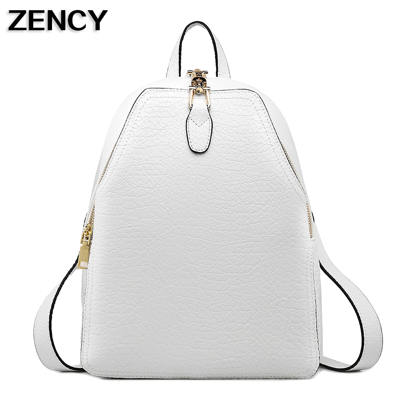 ZENCY Backpack Genuine Leather Women Female Fashion Casual Designer White/Black/Gray Backpacks School Bags For Girls Casual zency genuine leather backpacks female girls women backpack top layer cowhide school bag gray black pink purple black color
