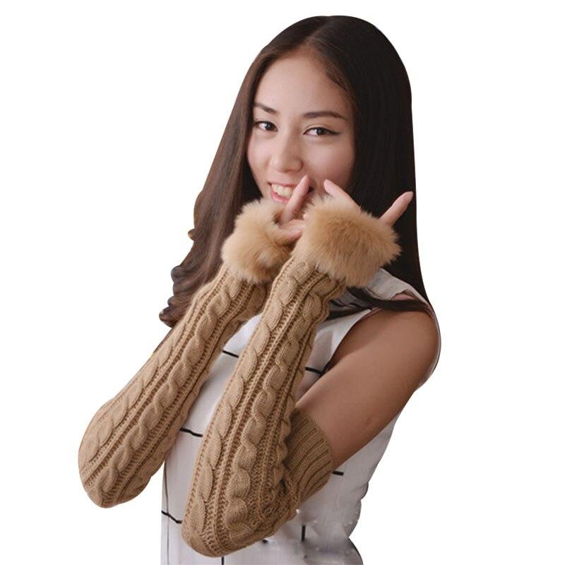 Knitting Twist Female Plus Long Gloves Winter Warm Long Arm Sets Fashion Plus Plush Fingerless Gloves Lovely Girl Gloves