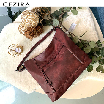 CEZIRA Casual Hobos for Women High Quality Vegan Leather Handbags Female Shoulder Bags Ladies Fashion design Tote Messenger Bags