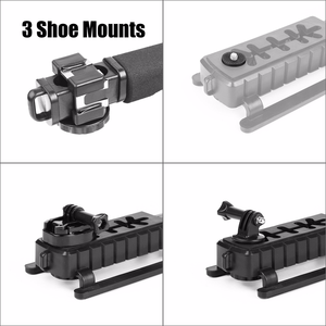 Image 5 - Pro Camera Stabilizer Triple Shoe Mount Video Holder Video Grip Flash Bracket Mount Adapter For Gopro Nikon DSLR SLR iPhone X 8