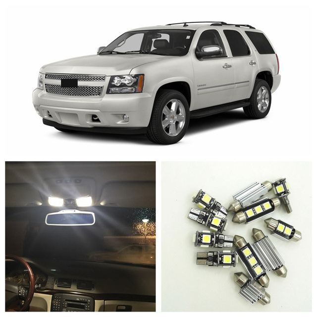 US $13 85 34% OFF|14pcs White LED Light Bulbs Interior Package Kit For  Chevy Chevrolet Tahoe 2007 2014 Map Dome License Plate Lamp Chevy B 13-in