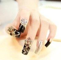Новый 24 шт. Lady Diamond Перл Блеск Свадебные 3D Мода Sexy Художественный стиль Длинные Поддельные Ложные Наклейка Кончик Ногтя С Клеем Гель
