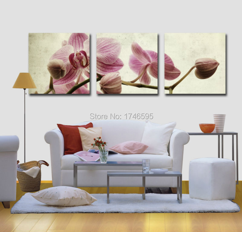 Big 3pieces Modern Home Wall Art Decor Butterfly Orchid Flower Canvas Wall Art Picture For Living