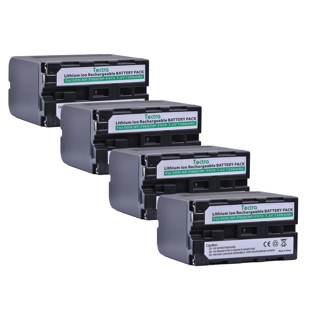 Tectra 4PCS NP-F960 NP-F970 High Capacity Li-ion Camera BATTERY for  Sony NP-F550 F550 NP-F770 NP-F750 F960 F970 np f960 f970 6600mah battery for np f930 f950 f330 f550 f570 f750 f770 sony camera