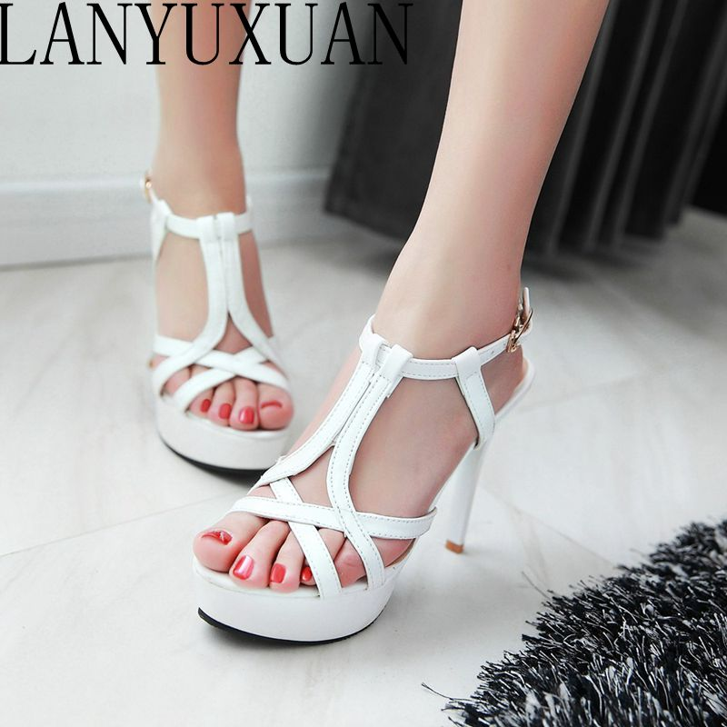 LANYUXUAN 2017 Summer Sexy Fashion Big Size 34- 45 Sandals Ladies Lady Shoes High Heel Women Party Super Pumps M51 lanyuxuan 2017 new hot big