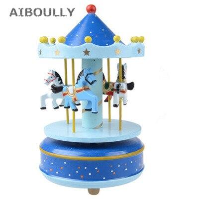 Wooden Merry-Go-Round Carousel Vintage Music Box Kids Christmas Birthday Gift Toy Wedding Cake Decoration
