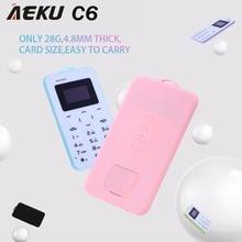 Aeku C6 карты мобильного телефона 2 г 4.8 мм ультра тонкий pocket mini slim карты телефон 0.96 дюймов клавиатурой qwerty Bluetooth V2.0 дешевый телефон
