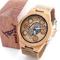 Madera De Bambú PÁJARO BOBO 2016 Especial Reloj Miyota Movimiento Japonés 2035 Exterior Con Cuero Genuino de la Vaca Cuarzo de la Venda de Reloj Analógico