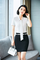 Summer Fashion Formal Uniform Styles Office Suits With 2 Piece Tops And Skirt For Women Business Blouses & Shirts Skirt Suits