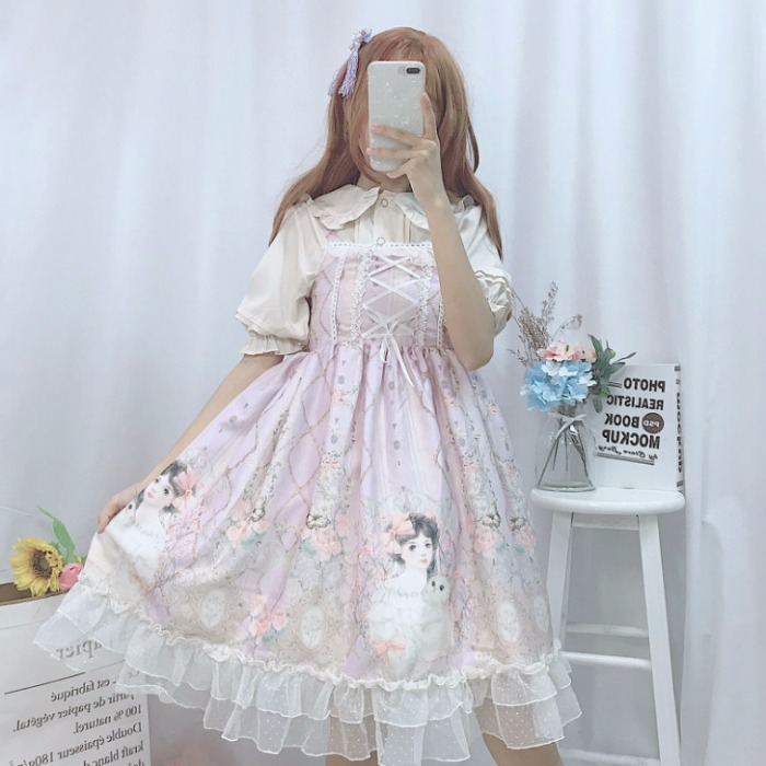 Lolita Dress Japanese JSK Kawaii Fairy Strap Dress Women Summer Dress Soft Sweet Girl Wind Cute Rose Girl Lolita Dress
