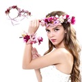 Hot Women Girl Bride Hair Wreaths Flower Headband Rose Crown Forehead Floral Hair Band for Party Wedding Headband hand wreath