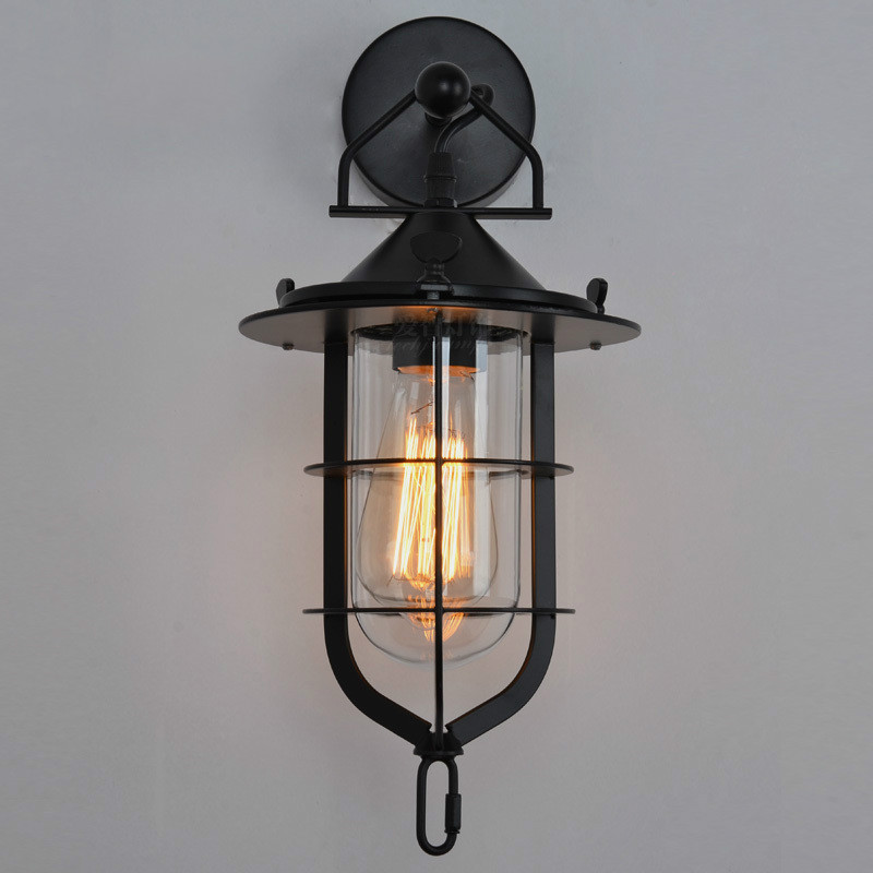 Brief loft vintage american antique balcony wrought iron wall lamp lamps