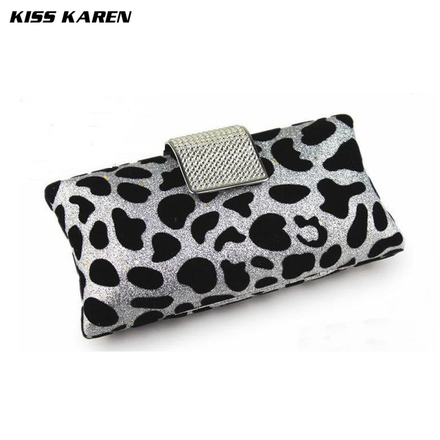 Kiss Karen Elegant Diamonds Hasp Velour Leopard Women's Clutches Evening Bag Women Party Clutch Bags Club Sexy Lady Minaudiere