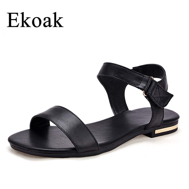 Ekoak New 2018 Cow Leather Women Sandals Summer Fashion Women Shoes Casual Beach Shoes Woman Flat Sandals summer mother shoes woman genuine leather soft outsole open toe sandals casual flat women shoes 2018 new fashion women sandals