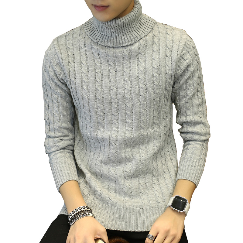 Men Turtleneck Sweater Pullovers Knit Long-Sleeve Christmas Winter White Black Leisure