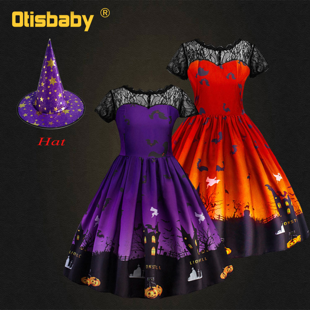 Boutique Halloween Witch Costume Girls Christmas Carnival Purple Orange Kids Lace Backless Dress Children Birthday Party Dress