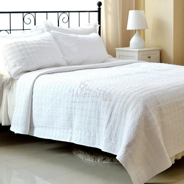 "100% cotton 3pcs+New 230x250""Bedspread Warm/Grid Comforter Bedding set Queen Size Cotton Quilted Bedcover pillowcase*2"
