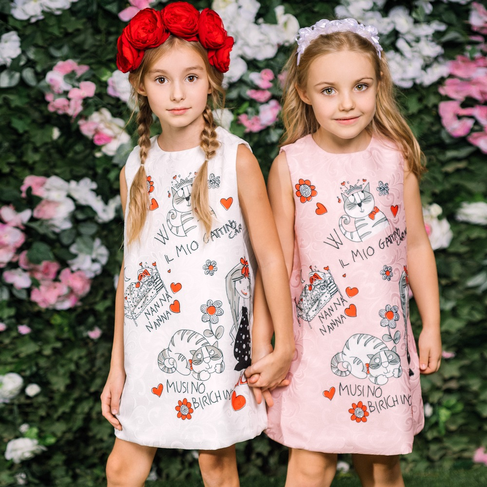 Princess Dress for Girls Clothes Character Printed Robe Fillette Costumes for Children Clothing 2018 Brand Girls Dresses Kids new girls dress brand summer clothes ice cream print costumes sleeveless kids clothing cute children vest dress princess dress