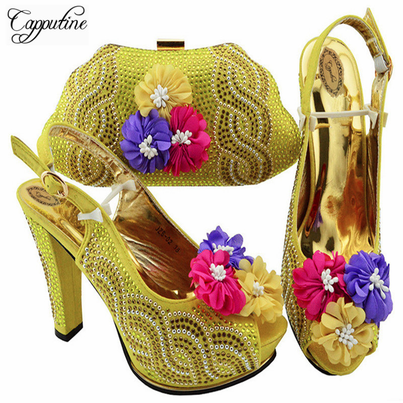 Capputine 2018 Nigeria Summer Woman Pumps Shoes And Bag Set African Style High Heels Shoes And